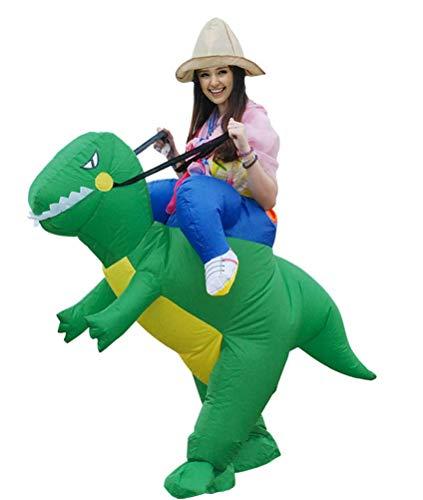 Mgaike Halloween-Kostüm, für Erwachsene, Dinosaurier, Kleidung, Kostüm, Party-Kostüm, aufblasbares Spielzeug, passend für eine Statue: 150 – 190 cm, grün, 150-190CM
