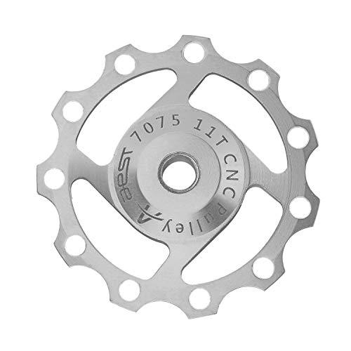 DEBAIJIA Trasero de Desviador Jockey Rueda 11T Polea de Cambio Trasero Guía Polea Aleación de Aluminio Cojinetes sellados Accesorios para Ciclismo de MontañaBicicleta - Plateado