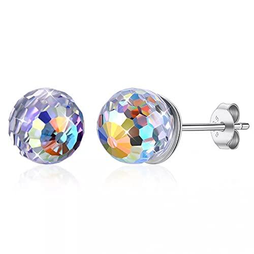 WLLLTY Pendientes Plata de Ley 925 para Mujer, Pendientes de Cristal con Forma de Bola Colorida, Regalo