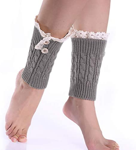 Leg Warmers for Women 8 Character Twist Wool Short Socks Set Lace Boot Knit Cuffs Short Crochet product image