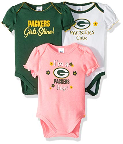 NFL Green Bay Packers Baby-Girl 3 Pack Bodysuit, Team Color, 6-12 Months