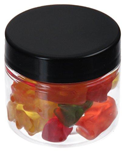Pot de PET 50 ml transparent, avec couvercle en plastique, noir, 10 pièces