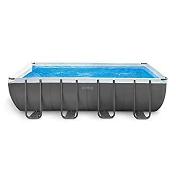 Intex 18ft X 9ft X 52in Ultra Frame Rectangular Pool Set with Sand Filter Pump Ladder Ground Cloth & Pool Cover