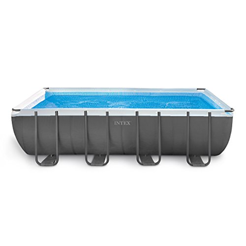 Intex 24ft X 12ft X 52in Ultra Frame Rectangular Pool Set with Sand Filter Pump, Ladder, Ground...