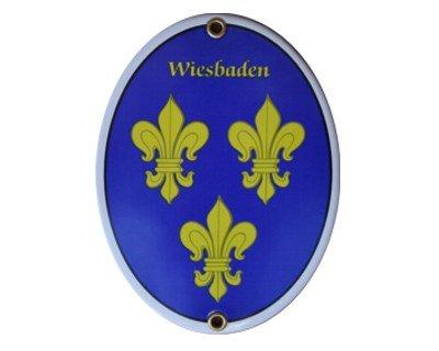 Wiesbaden Emaille Schild Wiesbaden 11,5 x 15 cm Emailschild Oval.