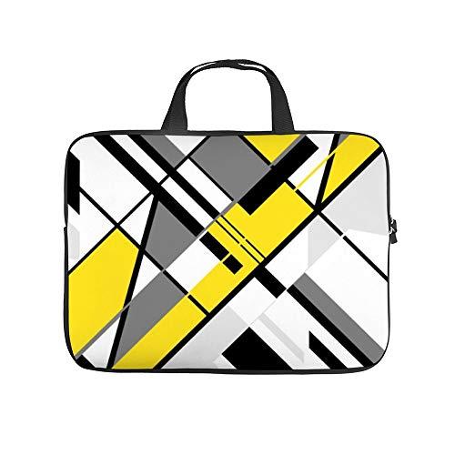 Yellow, Gray, White, Black Diagonal Angular 10InchLaptopSleeveCaseProtectiveCoverCarryingBagfor9.7'10.5'IpadProAir/10'MicrosoftSurfaceGo/10.5'SamsungGalaxyTab