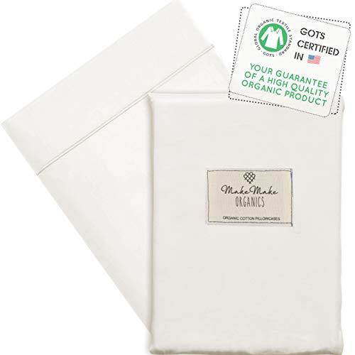 Makemake Organics Organic Body Pillow Pillowcase (Pack of 1) GOTS Certified Organic Cotton Body Pillow Cases Premium 500 TC Envelope Closure Non Toxic Skin Safe Body Pillow Covers (20x56, Pearl White)