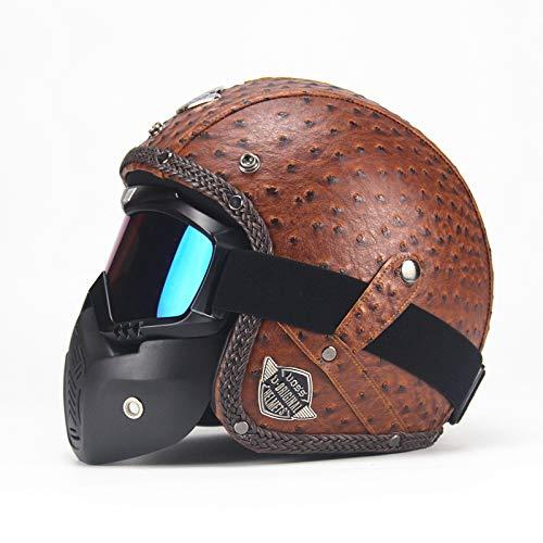 XuBa Casques de moto en cuir PU 3/4 Casque de moto Visage ouvert Casque de moto vintage avec Masque