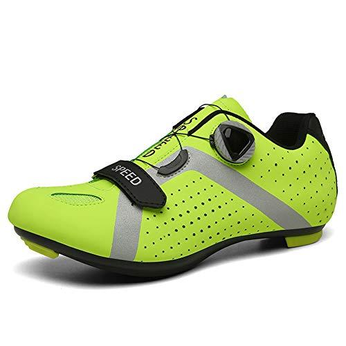GGBLCS Zapatilla de Ciclismo Montaña Hombre Mujer Profesional Zapatos de Ciclismo de Antideslizantes SPD Lock System para Bicicleta de montaña/Carretera,Verde,44 EU