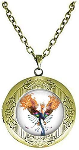 Rising Phoenix Locket Necklace Fire Bird Rise from The Ashes Reborn New Start Jewelry Gift