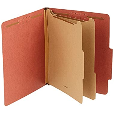 Amazon Basics Pressboard Classification File Folder with Fasteners, 2 Dividers, 2 Inch Expansion, Letter Size, Red, 10…