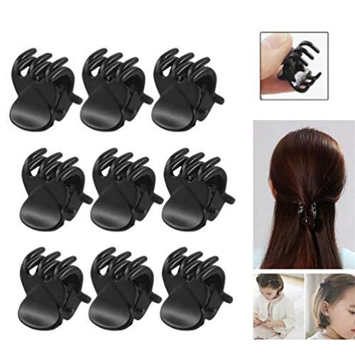 Bismarckber Lot de 12 mini pinces à cheveux en plastique Noir