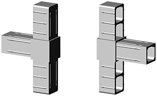T - Verbinder Kunststoff grau ähnl. RAL7035 - Glasfaserverstärkt für 20x20x1,5mm Aluminiumprofil Steckverbinder für Aluminiumprofile