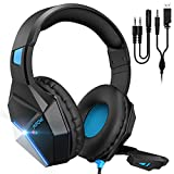 Mpow EG10 Gaming Headset for PS4, PC, Xbox One,Switch -7.1 Surround Sound with Mic Noise Cancelling,Switchable LED Light Soft Earmuffs for Laptop Mac Nintendo Switch Pad MAC Game(2020 Edition)