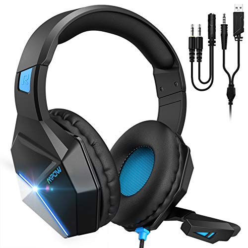Mpow EG10 Auriculares Gaming para PS4, PC, Xbox One, Switch, Mac, Cascos da 3,5 mm Jack con Micrófono Cancelación de Ruido, LED Cascos Gamer con Bass Surround, Diadema Acolchada y Ajustable