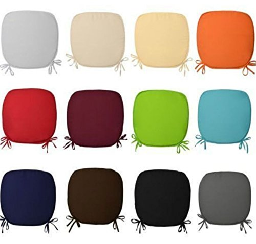 Mamushi REMOVABLE CHAIR SEAT PADS WITH TIES CHAIRS OFFICE HOME GARDEN FOAM CUSHIONS (pack of 2,4,6 & 8),In 12 colors. (pack of 4, Latte)