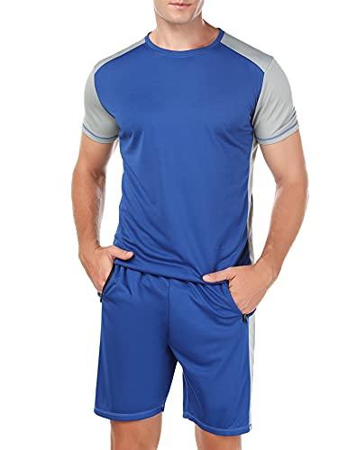 Wayleb Completi Sportivi Uomo Estivi Tuta Sportiva Uomo Tuta da Fitness Maniche Corte Pantaloncini Tuta da Ginnastica Uomo per Jogging Fitness, M+Blu