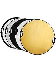 Selens 80CM 5 en 1 Reflector de Luz Redondo Plegable Portátil con Asa Iluminación Estudio Fotográfico Fotografía Al Aire Libre, Color Negro, Blanco, Oro, Plata, Translúcido