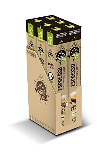 La Natura Lifestyle Espresso BIO - 60 industriell kompostierbare** Kaffeekapseln, Nespresso®* kompatibel, 6 x 10er Baguette Verpackungen