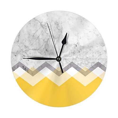 Uliykon Reloj de pared redondo con diseño de mostaza y mármol, silencioso, no hace tictac, arte decorativo, reloj de escritorio silencioso para el hogar