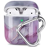 AirPod Case, Olytop Cute Design AirPods Accessories Protective Marble Case Cover Portable with Keychain Compatible with Apple AirPods Charging Case 2&1 for Girls Women Men (Gray/Purple)