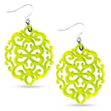 ZENZII Modern Damask Pattern Resin Earring (Silver/Lime)