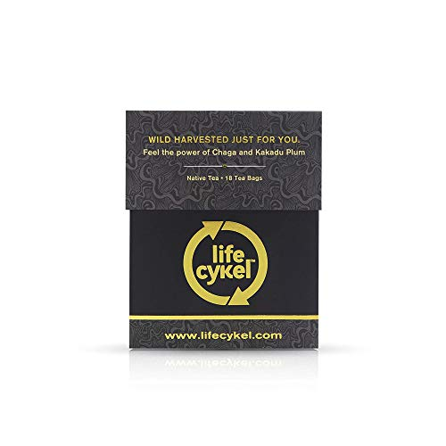 LIFE CYKEL Chaga Mushroom Tea with Kakadu Plum- 100% Organic Mushrooms, Immune Support Supplement High Antioxidants, Anti-Aging Magic Mushrooms, Vitamin C, Made in the US, No Artificial Fillers- 18 ct
