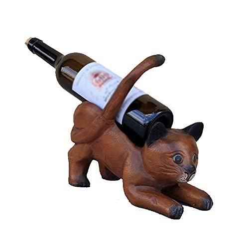 MCKEYEN Estante De Vino De Encimera De Madera Maciza, Organizador De Almacenamiento De Exhibición De Soporte De Botella De Vino De Gato Lindo, para El Hogar, Cocina, Mesa, Barra, Decoración, Regalos