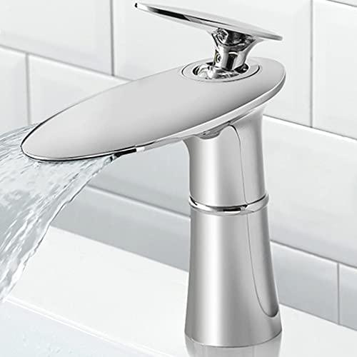 Grifo de Lavabo Baño, Grifo Lavabo Cascada, Grifos Lavabos de Doble Función Frío y Caliente, Agua Fria y Caliente Disponible Adecuado para Baño, Lavabo