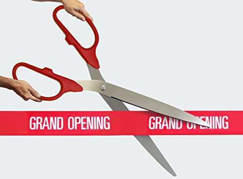 FREE Grand Opening Ribbon with 36' Red/Silver Ceremonial Ribbon Cutting Scissors