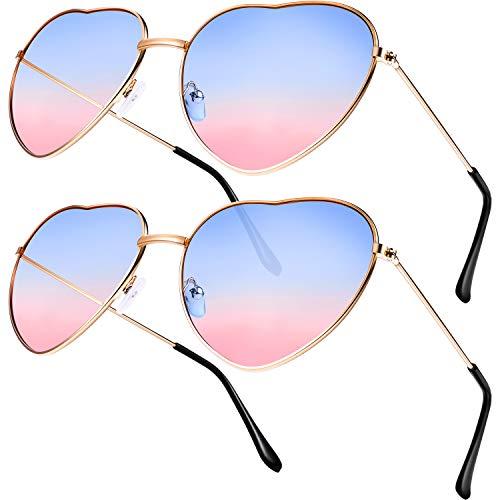 Boao 2 Pares de Gafas de Sol de Marco en Forma de Corazón en Estilo Hippy para Accesorio de Disfraz de Hippie, Marco Dorado Rosa (Lente Azul a Rosa Gradiente)