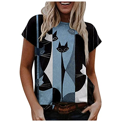 YANFANG Camiseta Sin Mangas con Volantes para Mujer, Mujeres Verano Cuello Redondo Suelta Camisa TúNica Casual Tops Blusa,Tallas Grandes Mujer,Camisetas Manga Corta Mujer OriginalesNaranjaXLNegroS