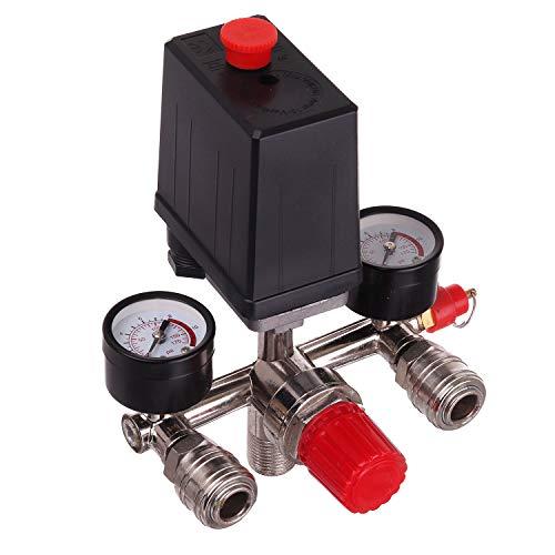 """Druckregler 230 V mit Druckschalter mit 2 Messanzeigen von 0 bis 12 bar, Außengewinde 1/2"""" (~21 mm)"""