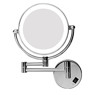 Excelvan LED Lighted Double Sided Swivel Vanity Makeup Mirror with 10x Magnification, 8 inches for 360 Degree Swivel Design, Chrome Finish