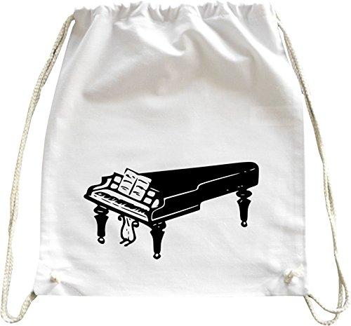 Mister Merchandise Turnbeutel Natur Rucksack Piano Klavier, Farbe: Weiß