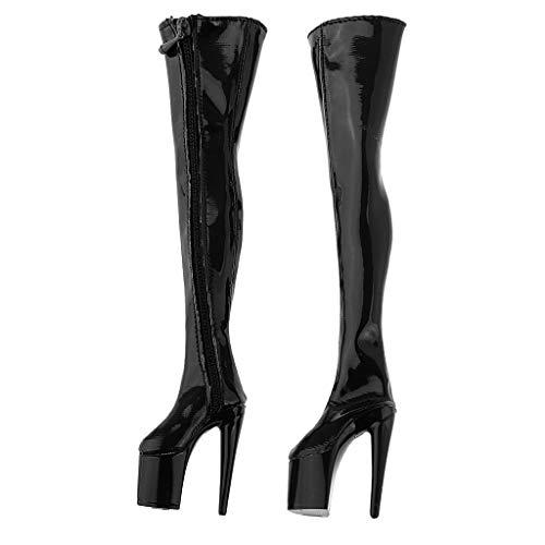 Blesiya 1/6 Overknee Laarzen Dames Laarzen Hak Laarzen voor 12 Inch Action Figures - Zwart