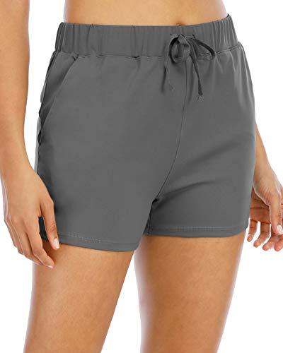FAFAIR Running Shorts for Women Stretch Yoga Lounge Shorts Elastic Waist Athletic Hiking Travel Shorts Plus Size Grey Blue L