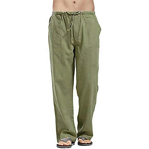 MakingDa Pantalone Lino Uomo Pantaloni da Spiaggia Leggeri Larghi Yoga Pantaloni da Lavoro Pantaloni Casual con Coulisse e 4 Tasca-Verde-L