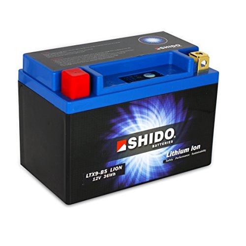 Batterie Shido Lithium LTX9-BS / YTX9-BS, 12V/8AH (Maße: 150x87x105) für Kymco Dink 125 Baujahr 1996