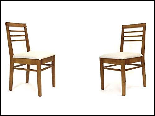 "Langer Naturholzmöbel 2X Sillas con cojín ""Venneza FSC® N002524 Sillas de comedor de madera de pino tapizado de lino, 44 x 44 x 88 cm, Oregon barnizado"