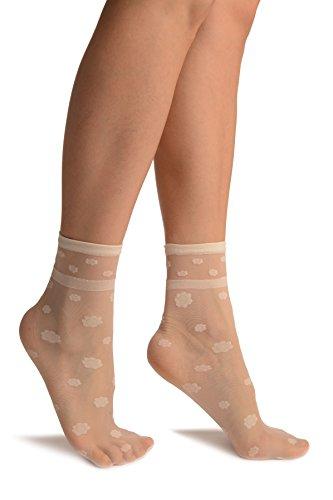 LissKiss Cream Camomile Flowers Ankle High Socks - Beige Socken, Einheitsgroesse (37-42)