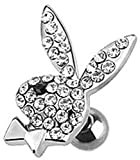 Playboy Bunny with Multi Paved Gems 316L Surgical Steel Cartilage/Tragus Barbell (Clear black Eye)