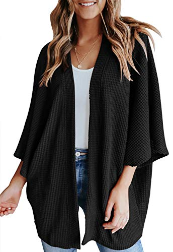 YIBOCK Womens Kimono Beach Cover Up 3/4 Batwing Sleeve Waffle Knit Cardigan Sweater Loose Capes Black Small