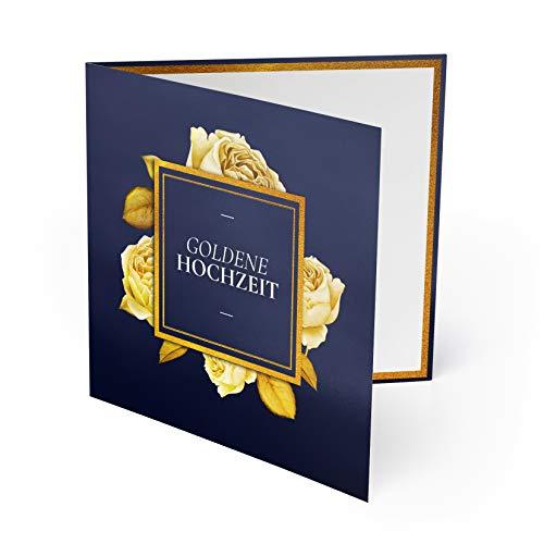 (20 x) Goldene Hochzeit Einladungskarten Goldhochzeit 50 Jahre Einladung - Rosen