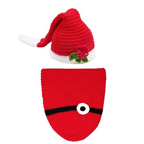DELEY Unisexe Bébé de Noël Sac de Couchage Costume Crochet Bébé Vêtements Tenue de Photo Accessoires de 0 à 6 Mois