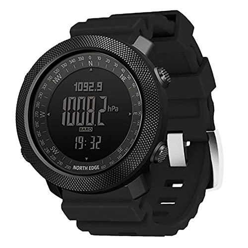 QZH Reloj para Hombre Al Aire Libre, Reloj Digital Deportes Correr Natación Ejército Militar Altímetro Barómetro Brújula Impermeable 50 M Relojes Inteligentes Multifuncionales,Negro