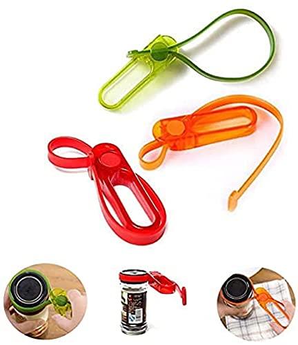 Abrebotellas con correa de 3 piezas, kit de abridor de botellas fácil de tarro utilizado para abrir botellas nuevas como latas de chili y latas de salsa de carne