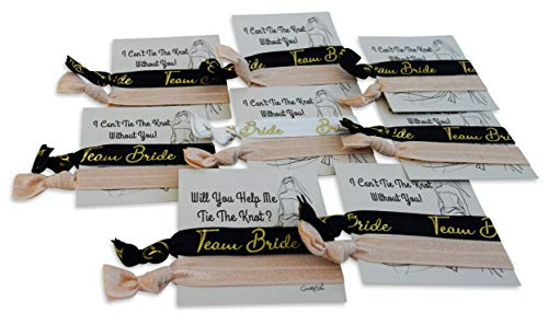 Hair Ties for Bridesmaids Gifts & 2 Sides Proposal Cards to Ask Bridesmaids, Matron & Maid of Honors or Flower Girl | 7 Black 'Team Bride' & 1 White 'Bride' in Gold Foil Letters & 8 Nude Blank Ties.