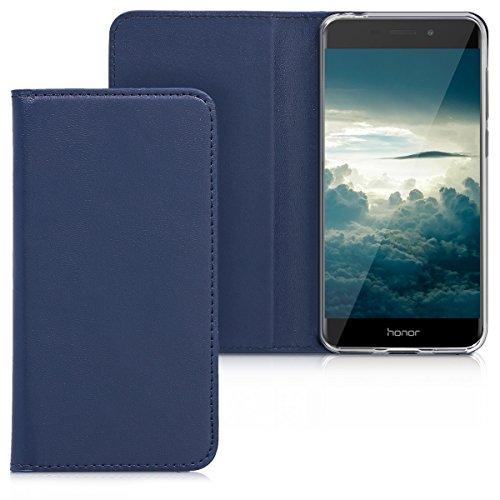 kwmobile Funda Compatible con Honor 6C Pro - Carcasa para móvil de Cuero sintético - Case en Azul Oscuro