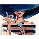 JXMK sans Cadre Dames et vin de Cerise Enfants numérique Bricolage Peinture Toile Peinte à la Main Peinture Murale Moderne décoration de la Maison 40x50 cm
